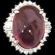 Stunning Rubellite and Diamond Ring in Platinum