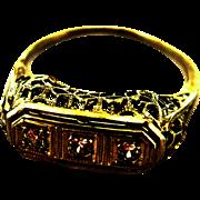 Deco Triple Diamond Ring In 14K White Gold