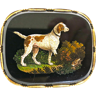 Superb Victorian Micro-Mosaic Brooch with Dog & Rabbit