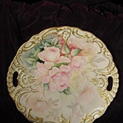 Limoges pink roses French gilt charger
