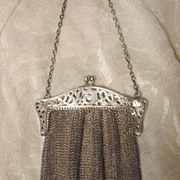 Sterling silver filigree dolphins mesh purse Art Nouveau frame A.M. Rymal