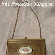 Vintage guilloche enamel & silverplate vanity compact purse