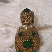 Czechoslovakia Jeweled Mini Perfume Bottle Gilt Caged Czech Perfume