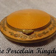 French butterscotch guilloche gilt enamel inlay locket compact  original powder puff