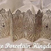 Silver filigree folding hinged miniature paneled screen