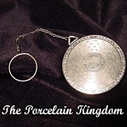 Art Deco silvertone powder compact with finger ring chain