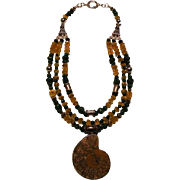 Ammonite Pyrite ( Fool's Gold ) Citrine Emerald beads : Fools Gold