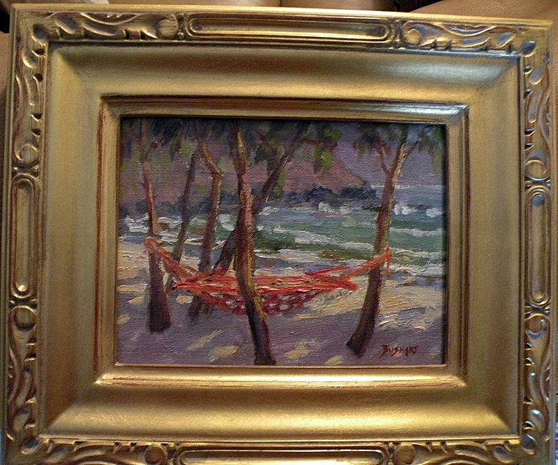 Jan Bushart Hawaii oo/b Beach Scene with Hammock