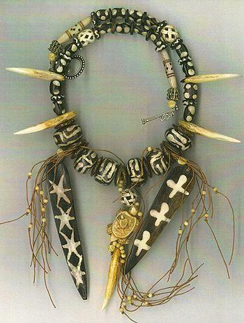 African Batik beads Bone Shield beads : Out of Africa II