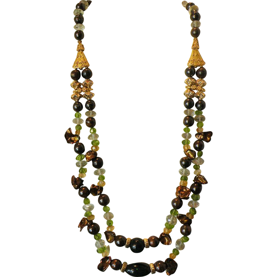 Australian Fairy Boulder Opal Necklace with Green Amethyst, Peridot, & Citrine