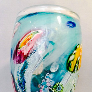 SALE Australian Art Glass Large and Heavy Reef Incalmo Vase by Artist-Glassblower Chris Pantano