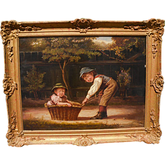 SALE Justus Hill (British,died 1898) Charming Genre Oil on Canvas of Two Siblings Playing