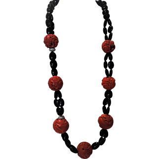 ENORMOUS Coral Red/Orange Pierced Hollowed Beads (29-34 mm) and Black Onyx Necklace