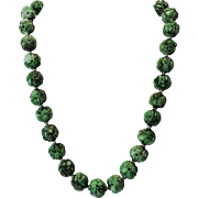 Chinese Carved Pierced Jadeite Green Bead Necklace with carved Buddha Heads