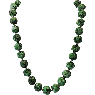 SALE Chinese Carved Pierced Jadeite Green Bead Necklace with carved Buddha Heads