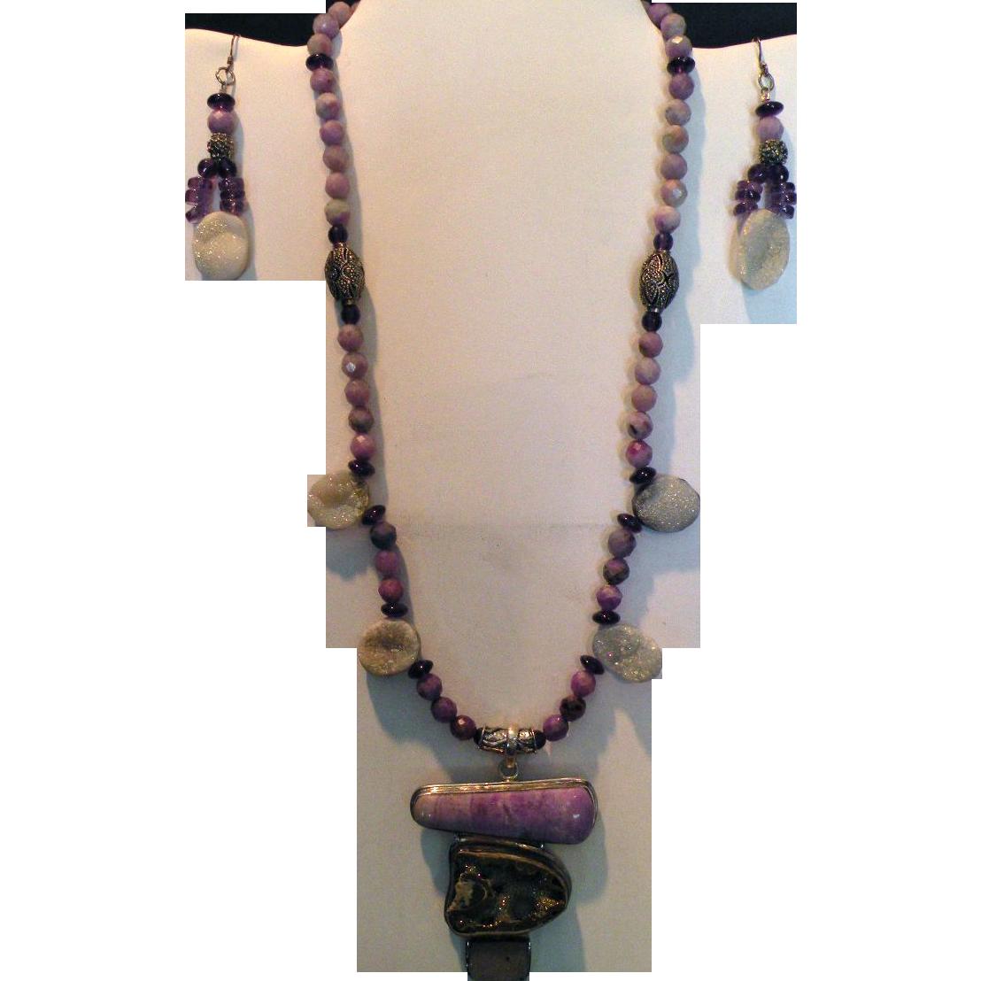 African Sugulite & Druzy (Drusy) beads Pyrite  Fossil : Sugar Baby