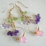 Love Potion - 14K Gold Filled Dangles of Faceted Peridot, Amethyst, and Chalcedony