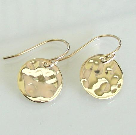 Tiny Baubles - Simple, Small 14K Gold Filled and Vermeil Shiny Hammered Disc Circle Drop Earrings