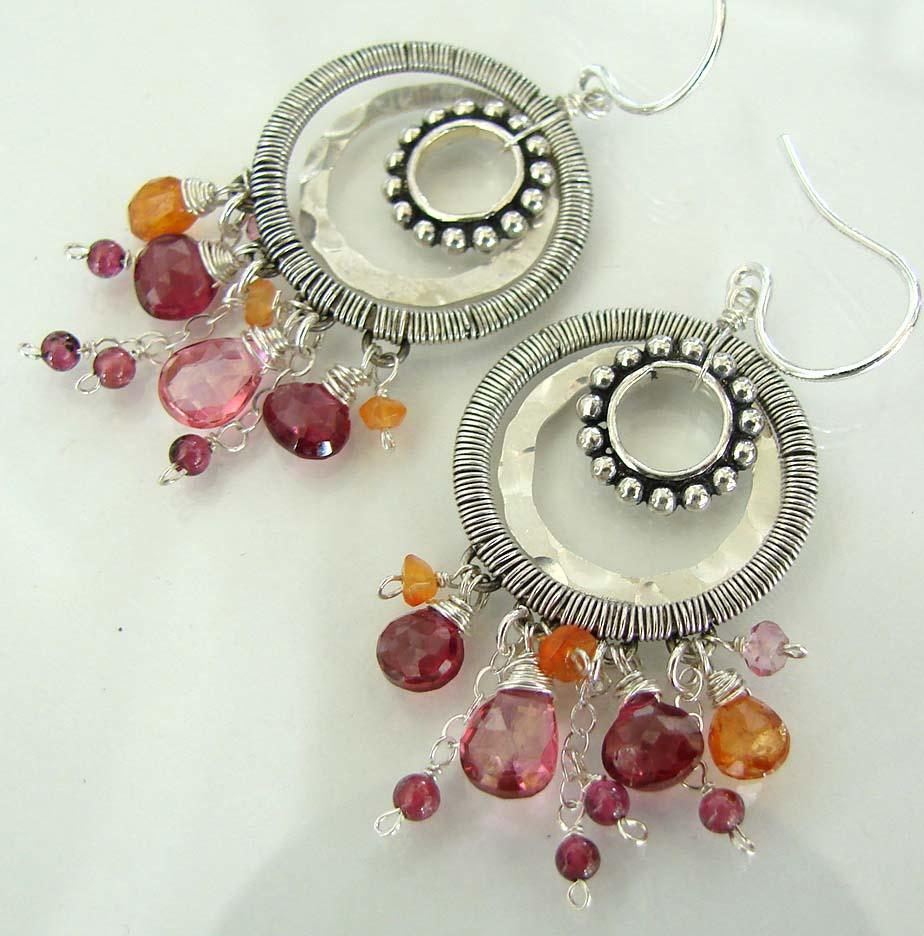 Pink Parfait - Multi Dimensional And Textured Sterling Silver Pink And Orange Gemstone Earrings