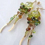 Serpentine - Multi Gemstones in Shades of Green, Hand Forged 14K Gold Filled Earrings