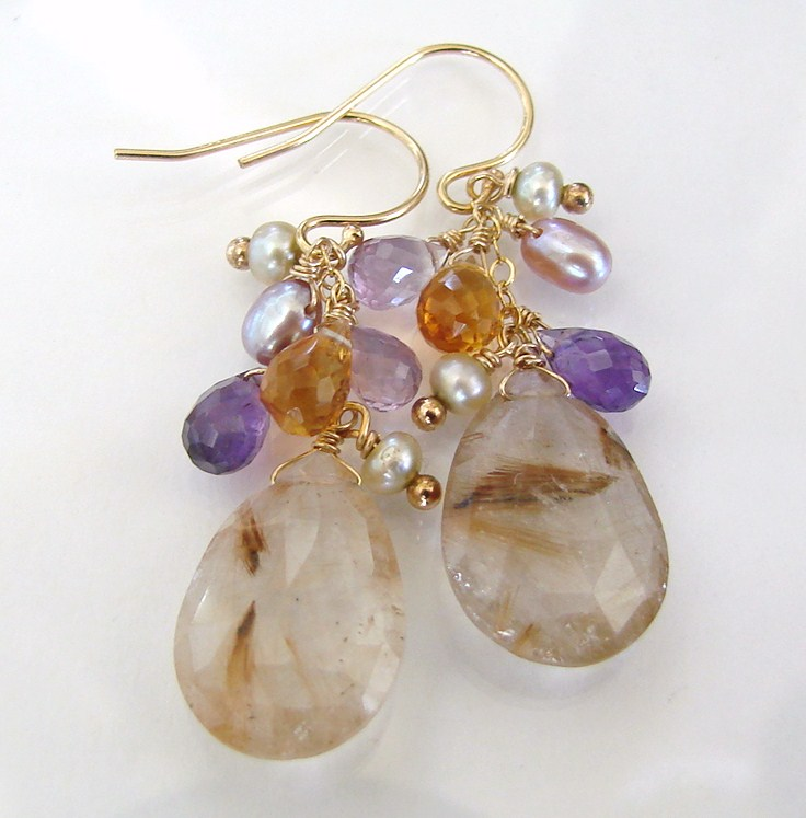 Golden Girl - Golden Rutilated Quartz, Citrine, Amethyst, Pearls - 14K Gold Filled Earrings
