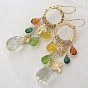 Autumn Leaves - 14.50 Carat Lemon Topaz, Mandarin Garnet, Green Apatite, Peridot, Yellow Opal 14K Gold Filled Earrings