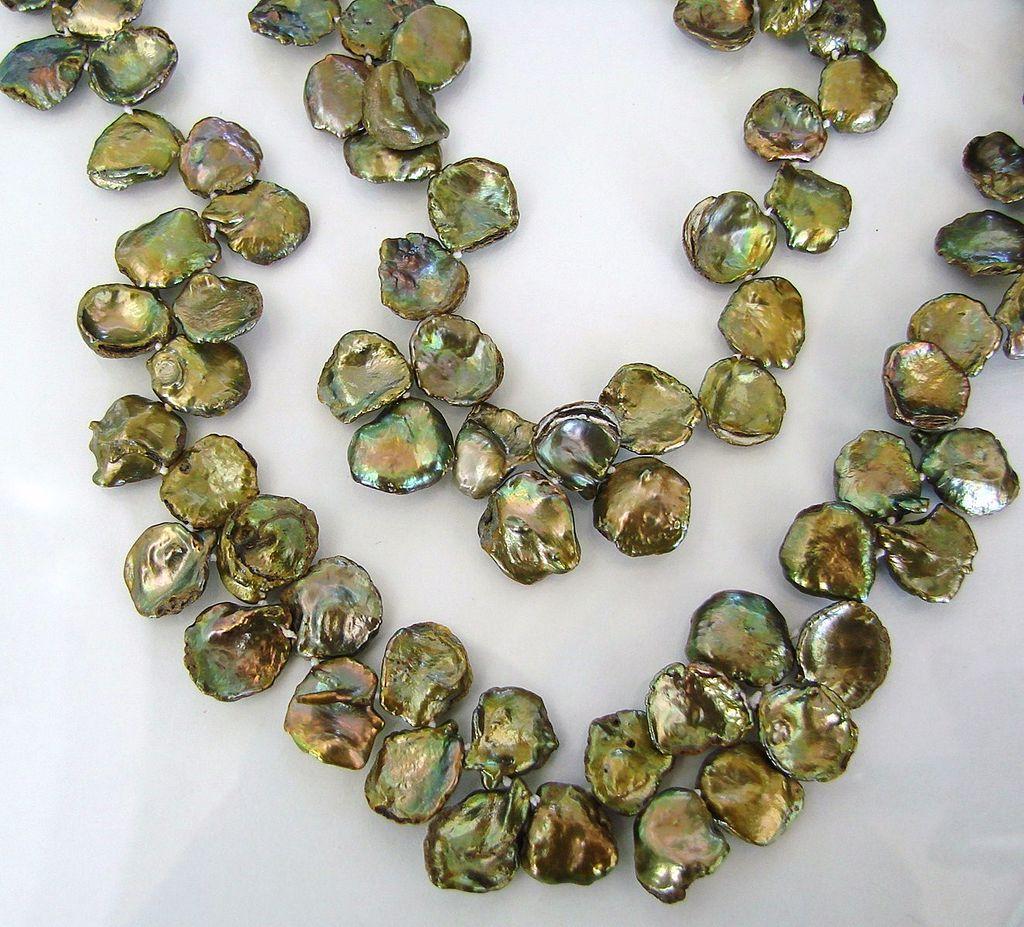 Keishi Petal Pearls - Large Peacock Green Pearls - 20 Inch Strand