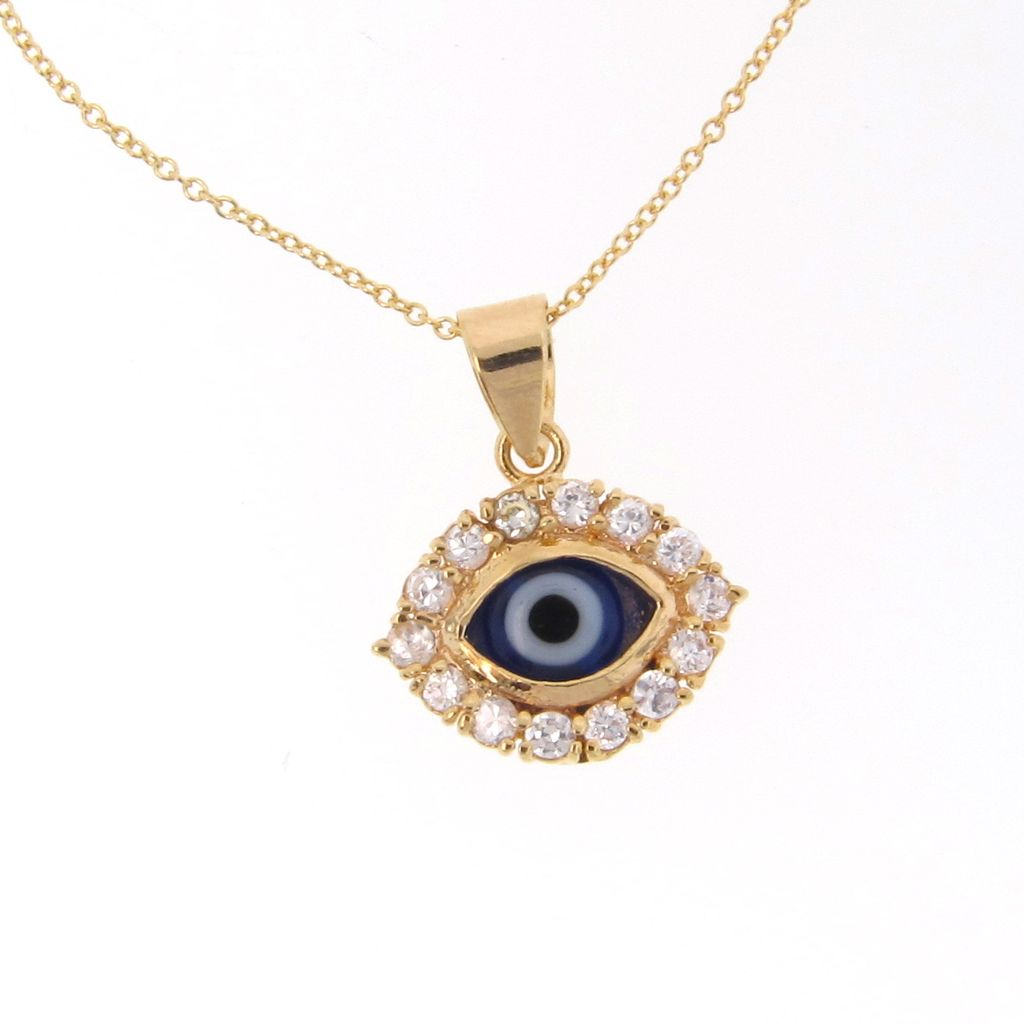 "Gold Filled Lucky Evil Eye Necklace With CZ's - Cubic Zirconia, 16"" Chain"