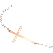 Kelly Ripa Sideways Cross Necklace, 14k Rose Gold, Small, Thin And Sleek, 16 Inch