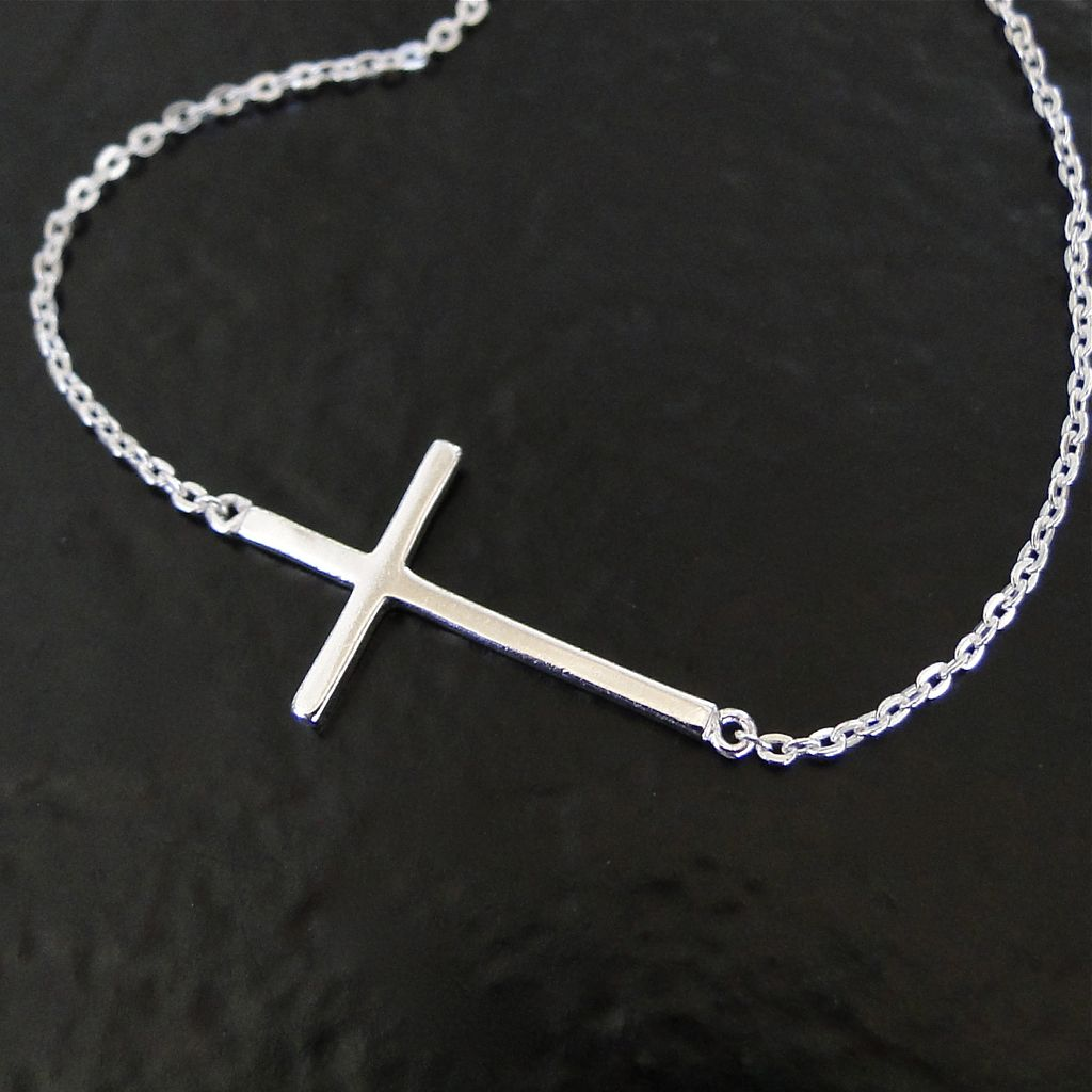 Kelly Ripa Sideways Cross Necklace - Sterling Silver, Small, Thin And Sleek