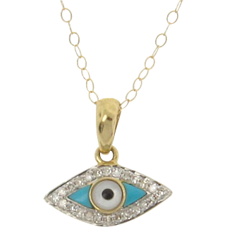 14K Gold And Diamond Evil Eye Necklace Set With Turquoise And Mother of Pearl, Yellow or White Gold
