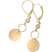 14K Gold Circle Dangle Earrings with Cubic Zirconia