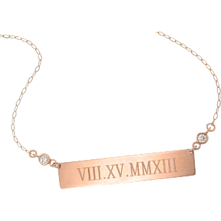 Will Engrave 14K ROSE Gold Diamond Bar Nameplate Necklace, Personalized Name Plate As Seen on Kim Kardashian, Kate Hudson, Roman Numeral