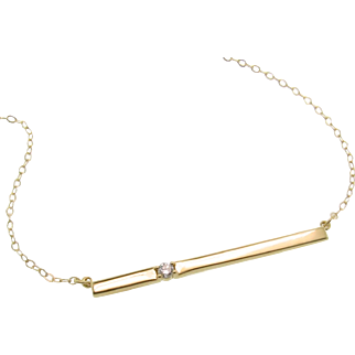 14K Gold Bar Necklace, With Diamond Thin Horizontal Stick Necklace, Celebrity Style - Cameron Diaz
