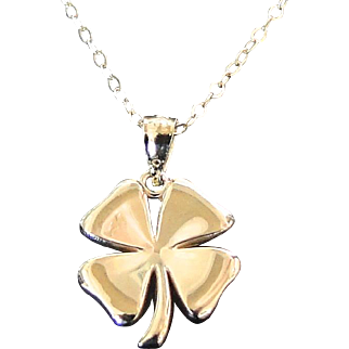 Gold Four Leaf Clover Necklace, 14K SOLID GOLD Lucky Charm - Sarah Jessica Parker, Sex And The City Necklace