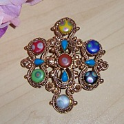 REDUCED Florenza Brooch Gold tone Baroque Style with Multi-Colored Cabochons