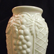 RARE Westmoreland Milk Glass 1926 Pickle Jar Vase Grapes and Lattice
