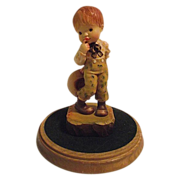 1990 Anri Club Piece A Little Bashful W/ Box and Stand Carved Wood Figurine