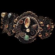Ornate Large Link Vintage Bracelet Butterfly Brass Semi Precious Stones