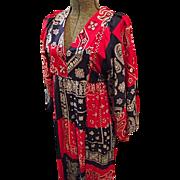 Womens Boho Hippie Maxi Dress Small Red Blue Bandana Print