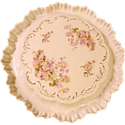 Turn of Century China Large Cake Plate With Trough Orchids