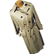 Vintage Aquascutum England Womens Khaki Trench Coat 10 Dbl Breasted Leather Buttons