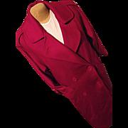 Vintage George David Fashions Womens Red 100% Wool Long Dress Coat M Lg