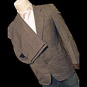 Vintage Hickey Freeman Boardroom Mens Wool Bld 2PC Suit 38 Reg Gray Tweed