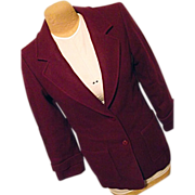 Vintage Miss Pendleton Womens Burgundy 100% Wool Coat Medium