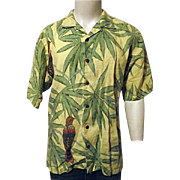 Vintage Tommy Bahama Mens Hawaiian Shirt M 100% Linen Yellow Birds Parrot