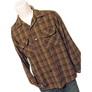 Vintage 1960s Pendleton Woolen Mills Men 100% Wool Brown Plaid Board Shirt
