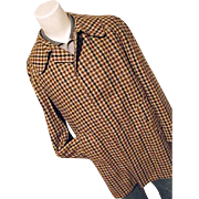 ATOMIC Vintage Lakeland Chuck Wagon Mens Brown Plaid 100% Wool Car Coat 44 L