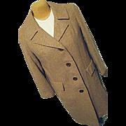 Vintage Pendleton Woolen Mills Womens Brown Tweed 100% Wool Dress Coat Medium