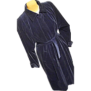 FANTASTIC Vintage Marguerite Rubel Women Royal Blue Velveteen Opera Coat Lg Long